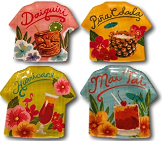 Tommy Bahama Tropical Cocktails Melamine Appetizer Dessert Plates Set of 4