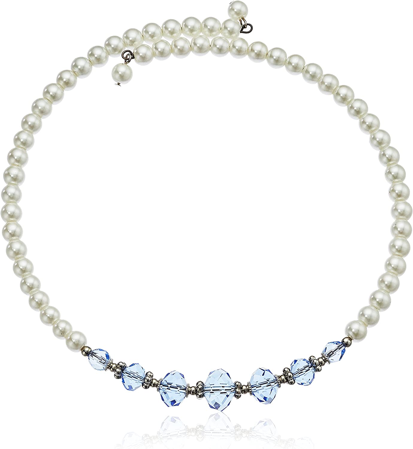 1928 Jewelry Simulated Pearl and Blue Crystal Coil Choker Necklace 15