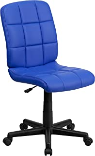 Flash Furniture Mid-Back Blue Quilted Vinyl Swivel Task Office Chair, BIFMA Certified