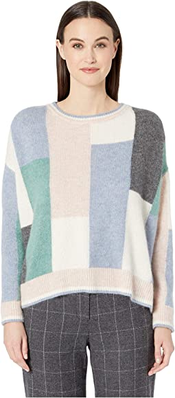 Brushed Cashmere Knit Color Block Long Sleeve Crew Neck