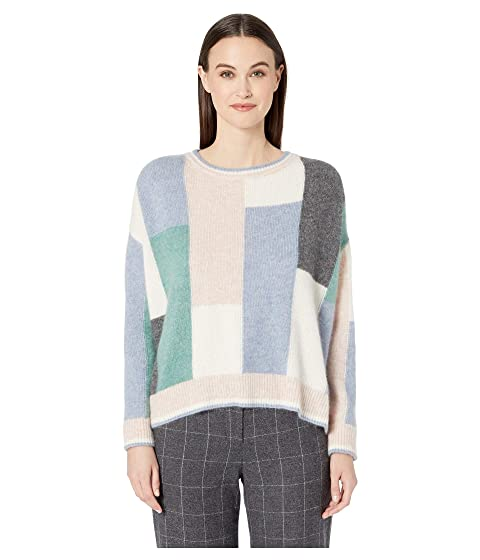 Adam Lippes Brushed Cashmere Knit Color Block Long Sleeve Crew Neck