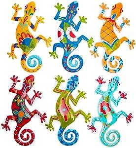 Metal Gecko Outdoor Wall Décor in 6 Designs (5.5 x 8.6 In, 6 Pieces)