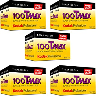 Kodak Professional 100 Tmax Black and White Negative Film (ISO 100) 35mm 36 Exposures (853 2848) 5 Pack