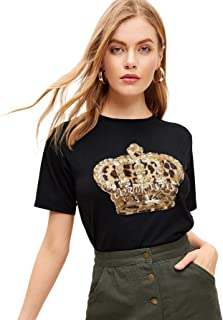 SOLY HUX Women`s Summer Round Neck Short Sleeve Sequin Graphic Print T-Shirt