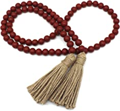 CVHOMEDECO. Wood Beads Garland with Tassels Farmhouse Rustic Wooden Prayer Bead String Wall Hanging Accent for Home Festiv...