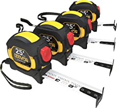LEXIVON [4-Pack] 25Ft/7.5m AutoLock Tape Measure | 1-Inch Wide Blade with Nylon Coating, Matte Finish White & Yellow Dual ...