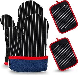 Mture - Guantes para horno, guantes para horno y manoplas de cocina, resistentes al calor, antideslizantes, aptos para cocinar, hornear, asar, 1 par y 2 agarradores, color negro