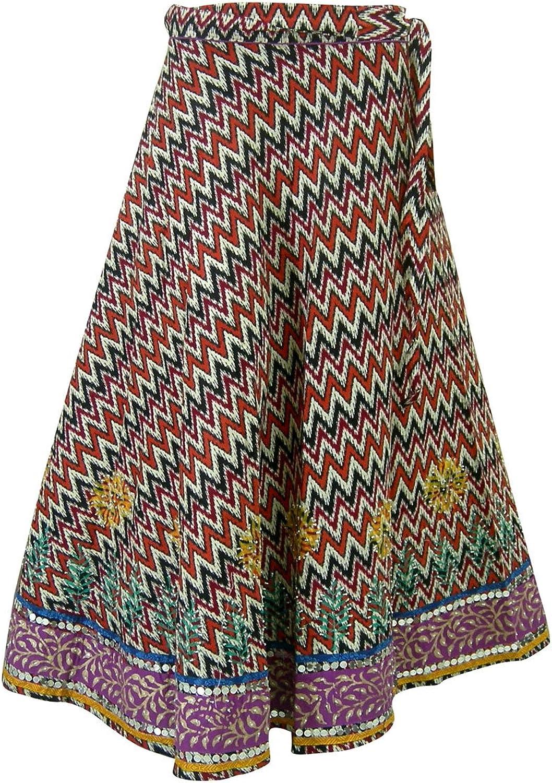 Block Print Designer Cotton Wrap Skirt Evening India Clothing