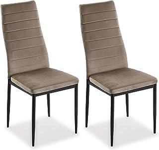 Mimma 21940014 Set de Dos sillas de Comedor de Terciopelo Valentina, Hierro, Beige, 96 x 53 x 43 cm