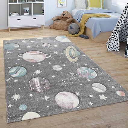 Spiel-Teppich F/ür Kinderzimmer Mit Planeten Und Sternen In Grau Paco Home Kinder-Teppich Gr/össe:140x200 cm