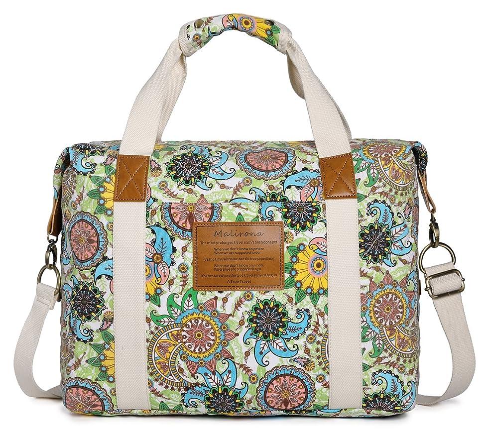 Malirona Ladies Women Canvas Travel Weekender Overnight Carry-on Shoulder Duffel Tote Bag Bohemian Flower (Green Flower)