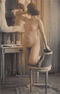 1910 Real Photo Postcard Risquà Topless Nude Woman in a Photo Studio~115564