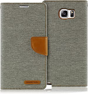 Goospery Canvas Wallet for Samsung Galaxy Note 5 Case (2015) Denim Stand Flip Cover (Gray) NT5-CAN-GRY