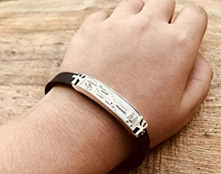 Personalized Solid Silver Egyptian Cartouche In Leather Bracelet - Made By AYALZ (Up To 9 Letters)