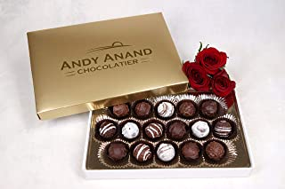 Andy Anand Champagne, Rum, Irish Cream & Kahlua Belgian 16 Pc Chocolate Truffles Gift Boxed & Greeting Card, Delicious, Succulent & Divine Birthday Christmas Gift Anniversary