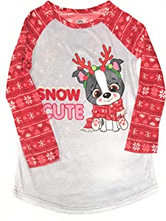 Long Sleeved Christmas Fleece Girls Nightgown Pajamas with Puppy or Penguin (Snow Cute Puppy, Medium (7/8))
