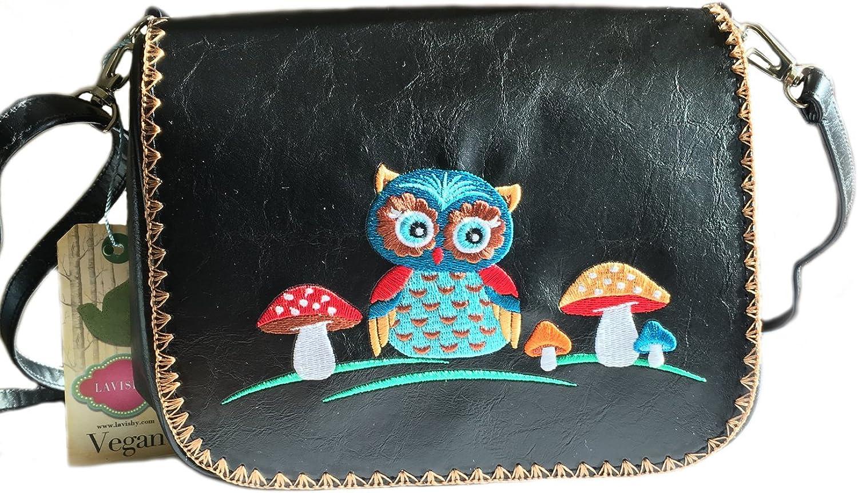 Owl Embroidered Vegan Leather Crossbody Bag