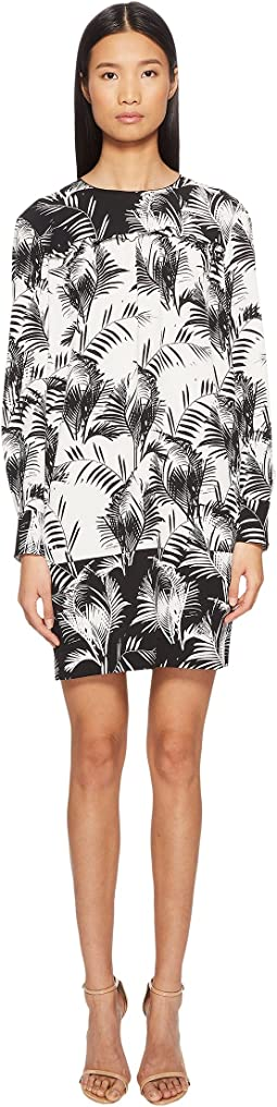 Palm Print Long Sleeve Dress
