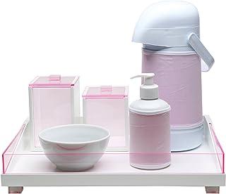 Kit Higiene Clean Acrílico, Potinho de Mel, Rosa
