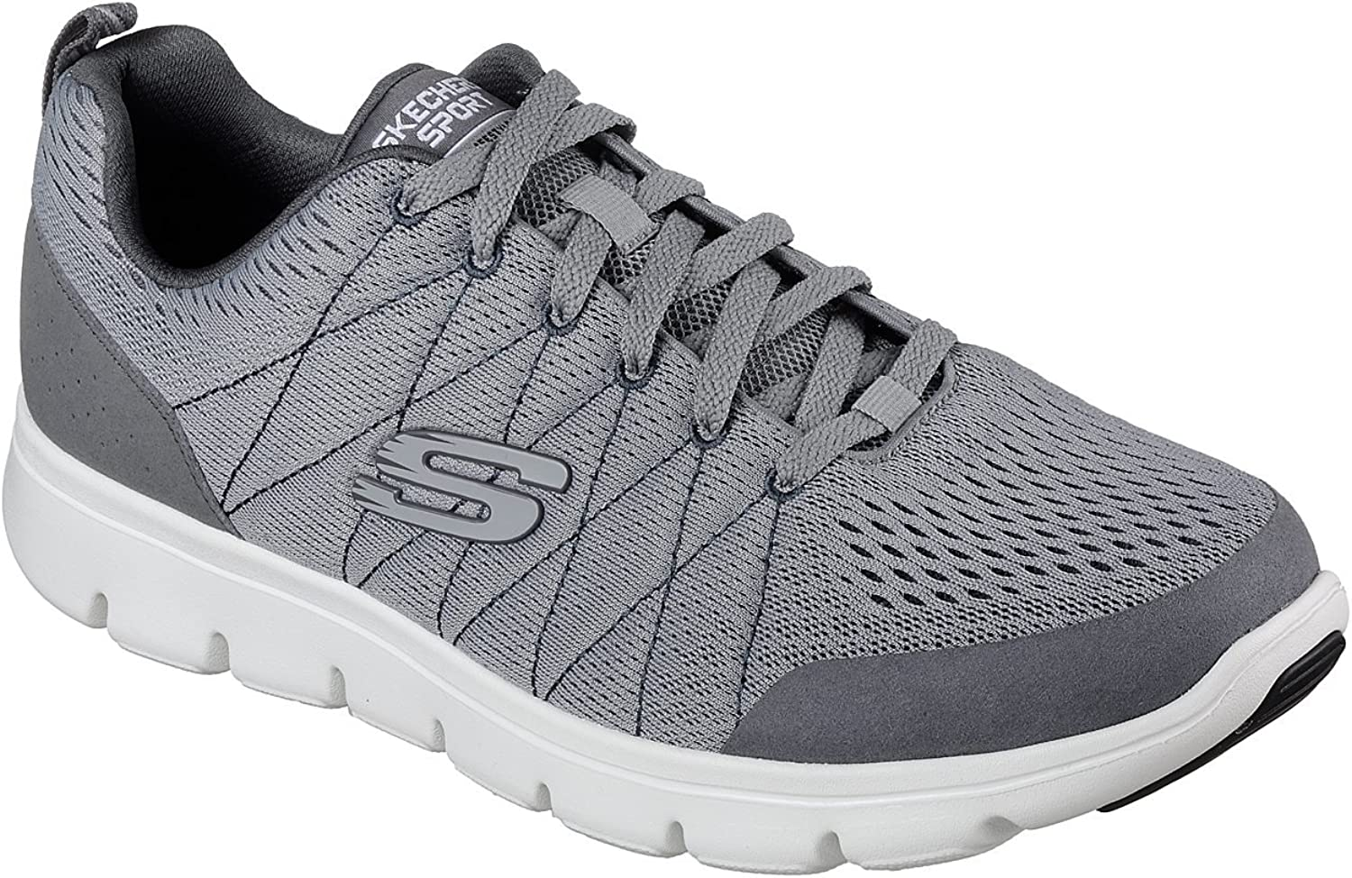 MENS SKECHERS MARAUDER MERSHON GREY MEMORY FOAM TRAINERS SHOES 52836 GRY-UK 7 (EU 41)