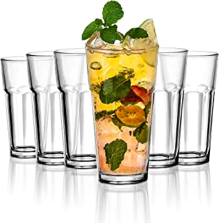 Amisglass Drink Glassware Set Tall Highball Glasses 6 Pack - 400ml | Heavy Base Tall Bar Glass | Ideal for Home, Restauran...