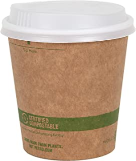World Centric 100% Biodegradable, 100% Compostable Paper PLA-Lined 12 Ounce Kraft Coffee Hot Cup and Lid Combo, 50 Pack