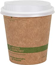 World Centric 100% Biodegradable, 100% Compostable Paper PLA-Lined 12 Ounce Kraft Coffee Hot Cup and Lid Combo, 100 Pack