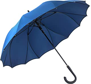 One-Piece-Fabric Umbrella - Seamless Design, No Sewing, 230T Pongee For Better Waterproof, Dual Ribs For Better Windproof, Auto-Open, Soft Cap/End, Business Casual Stick Umbrella
