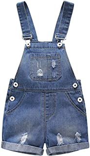 Kidscool Baby & Toddler Girls/Boys Big Bibs Ripped Hole Summer Jeans Shortalls