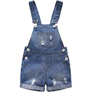Baby & Toddler Girls/Boys Big Bibs Ripped Hole Summer Jeans Shortalls