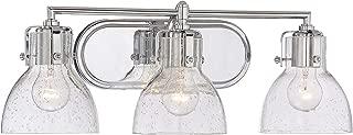 Minka Lavery 5723-77 Urban Industrial Wall Light Fixtures Glass Bath Vanity Lighting, 3 Light, 300 Watts, Chrome