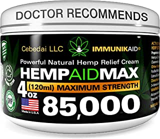 85000Mg Premium Hemp Cream for Pain Relief - 4oz Pure Hemp Oil Extract - Made in USA - Extra Strength Natural Massage Loti...