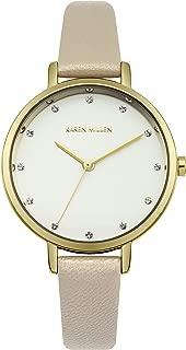 Karen Millen Women's Analog-Quartz Watch with Leather Strap, Beige, 12 (Model: KM157C)