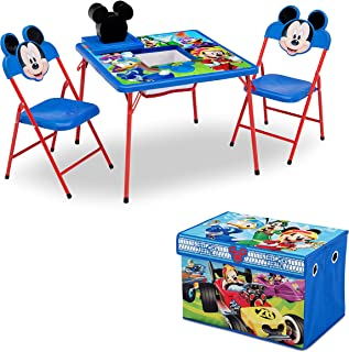 Delta Children 4-Piece Kids Furniture Set (2 Chairs and Table Set & Fabric Toy Box), Disney Mickey Mouse