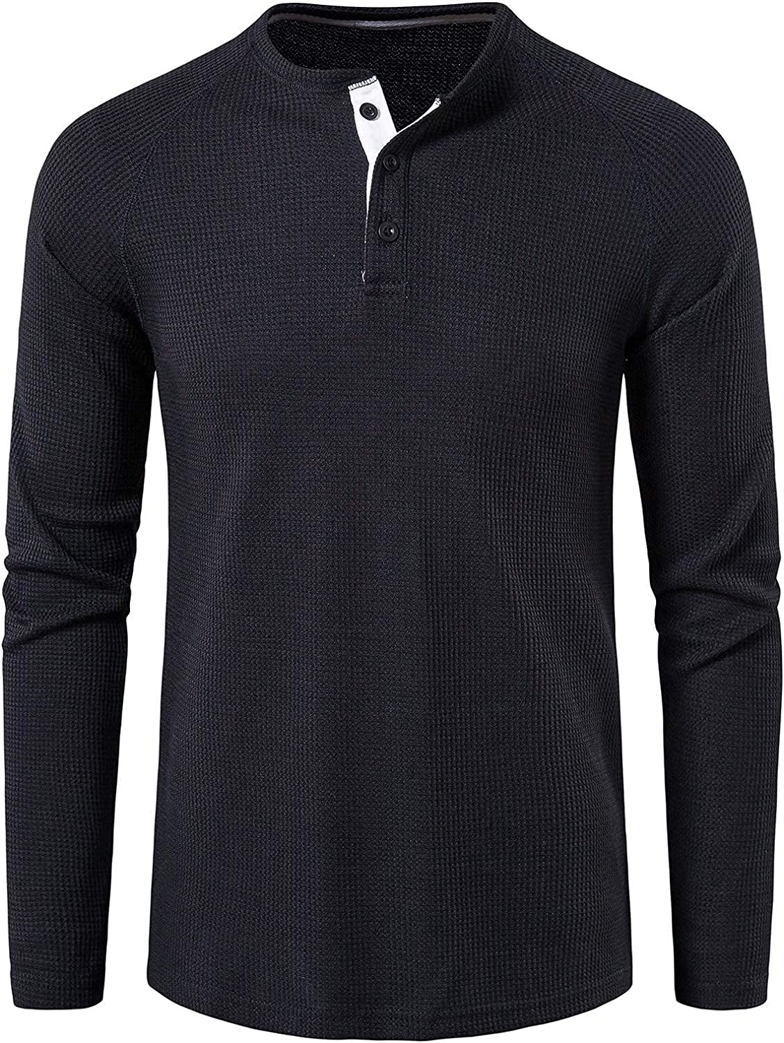 Casual Long Sleeve Shirts for Men Round Neck Solid Button Down Tops Breathable Cotton Shirts for Spring Autumn