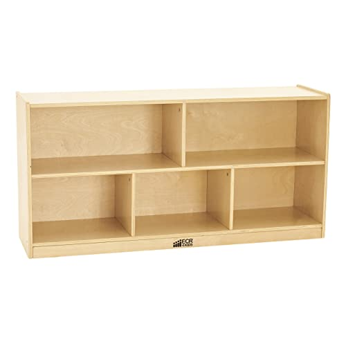 ECR4Kids Birch 5-Section School Classroom Storage Cabinet with Casters, Commercial or Personal Storage