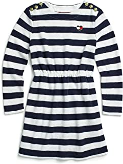 TOMMY HILFIGER Adaptive Girls 7183959 Long Sleeve Dress Striped with Magnetic Buttons at Shoulders Long Sleeve Casual Dress - Blue - 12