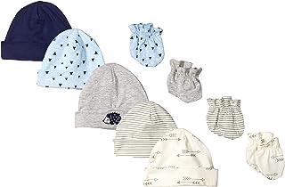 Gerber Baby Boys' 9-Piece Cap and Mitten Bundle