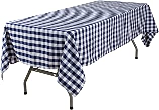 YRYIE 60 x 102 Inch Rectangle Polyester Plaid Tablecloth Navy Blue Gingham for Rectangular Table Washable Solid Checkered Table Cover for Buffet Table,Parties,Holiday Dinner