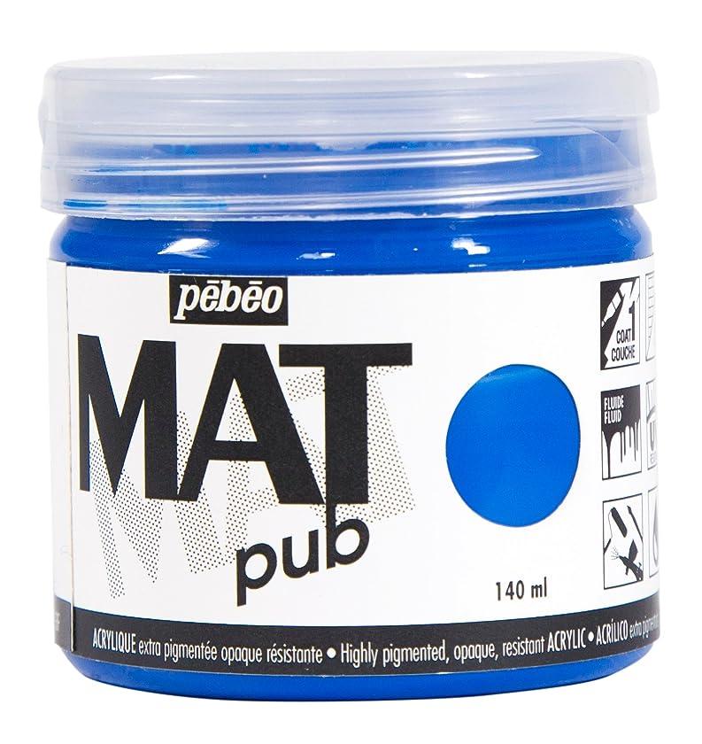 Pebeo 256012 Mat Pub, Extra fine, 140 ml-Cyan Blue Acrylic Paint,