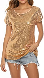 YAWOVE Women's Sparkle Sequin Top Short Sleeve Shimmer Glitter Party Tunic Tops …