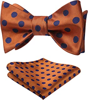 HISDERN Polka Dot Self Bow Tie Panuelo Fiesta Boda Bowtie & Pocket Square Set