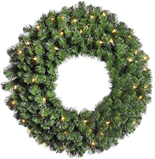 Vickerman Douglas Fir Green Wreath with 100 Clear Dura-Lit, 42-Inch