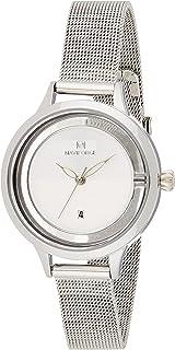 ساعة كرونوغراف بمينا بيضاء وسوار شبكي من الستانلس ستيل للنساء من نافي فورس - NF5014-SW