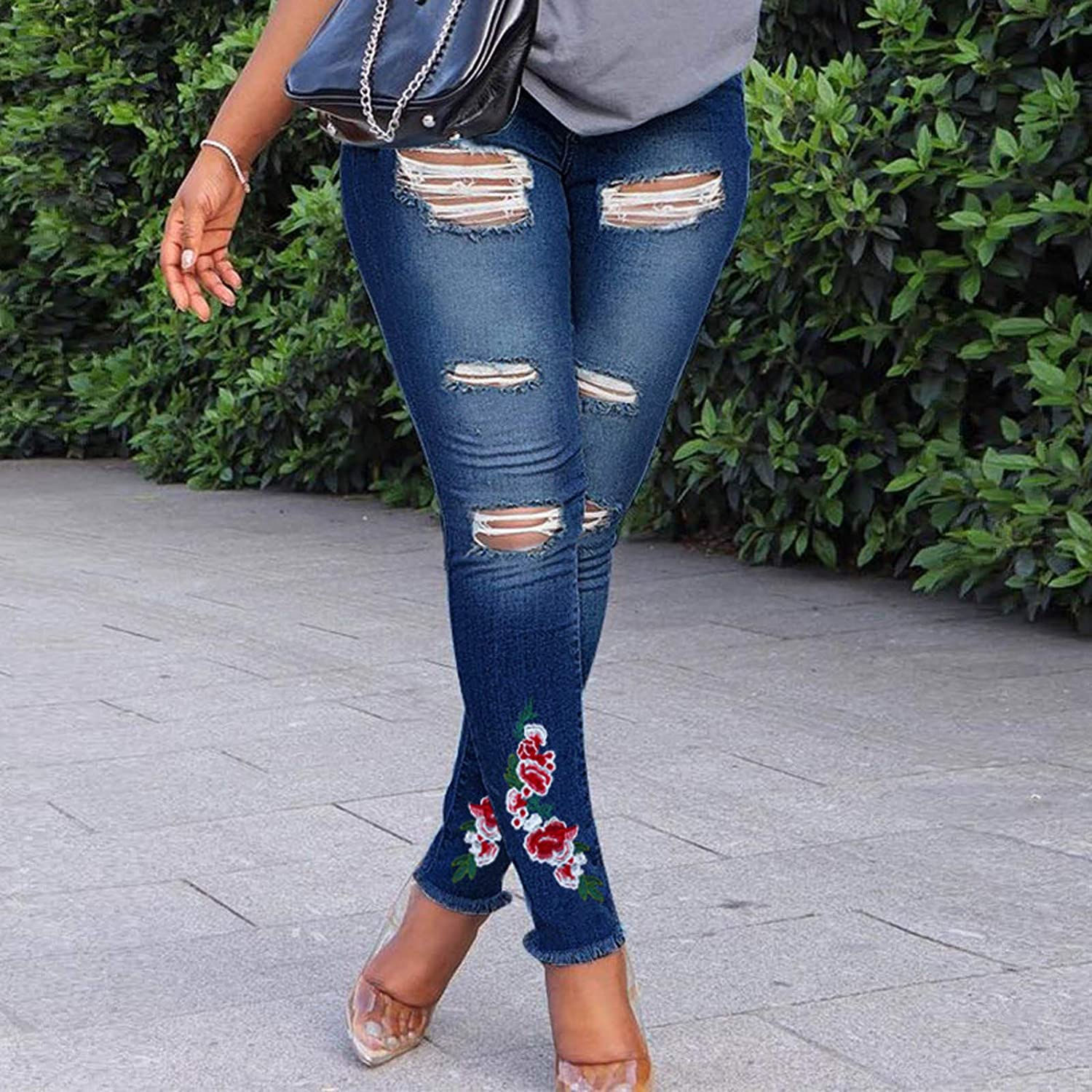 Women's Ripped Skinny Jeans Stretch Embroidered Floral LIM Denim Pants with Pockets