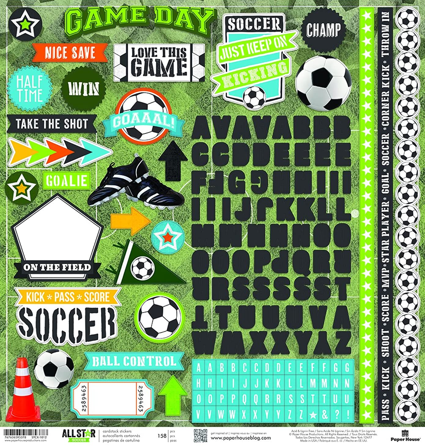Paper House Productions STCX-1012E Soccer Cardstock Stickers 12-Inch (Pack of 6)