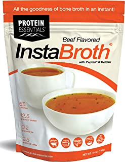 InstaBroth, Bone Broth Powder with Grass Fed, Pasture Raised Collagen and Gelatin, 12.5g Protein (6.4oz) (Beef)