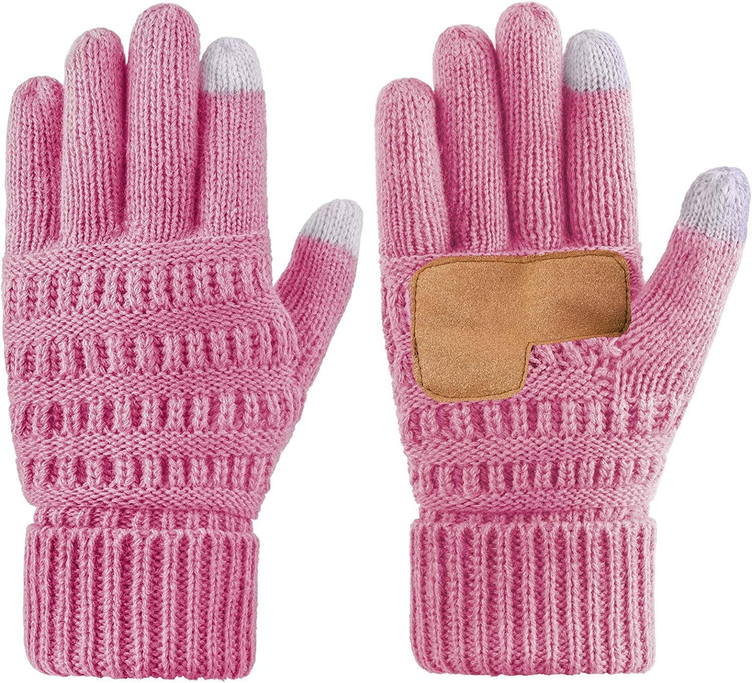 Cooraby Winter Touch Screen Gloves Thick Cable Knit Gloves with Warm Thermal Lining Cuff Soft Gloves for Men Women