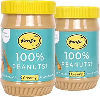 Pacific Peanut Butter No Added Sugar and Salt Natural Creamy Peanut Butter Jar, 482 g Each - Pack of 2