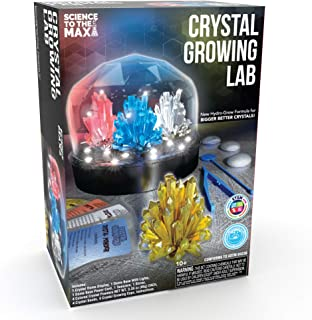 Crystal Growing Kit For Kids + Light Up Display Dome for Kids by Creative Kids – Make and Grow 4 Large Crystals - DIY Educ...